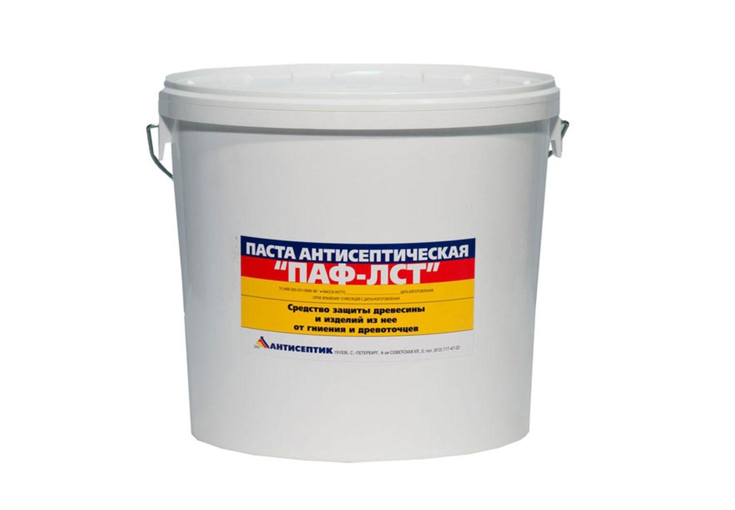 Паста-концентрат ПАФ-ЛСТ защищает древесину от гниения и древоточцев, является лучшей защитой от поражения домовыми грибами сырой древесины, работающей в замкнутом пространстве и непроветриваемом помещении.